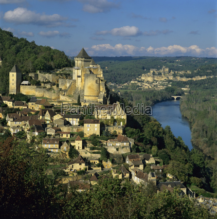 chateau, de, castelnaud, and, view, over - 20820947