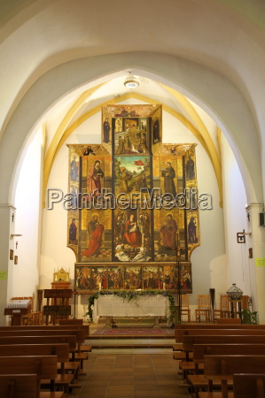 church interior with 16th century triptych