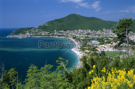 view over town and slovenska beach