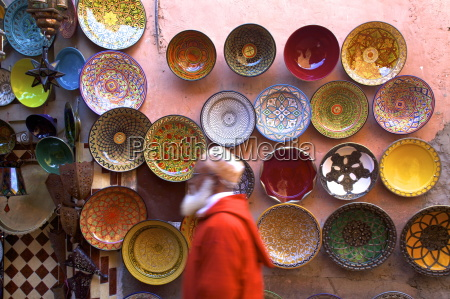 street scene with moroccan ceramics marrakech