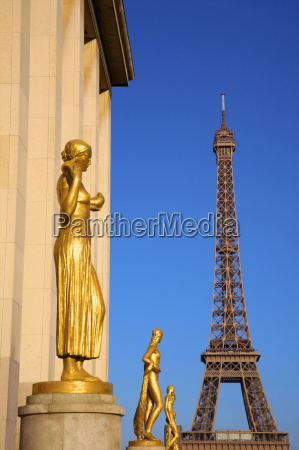 palais de chaillot and eiffel tower