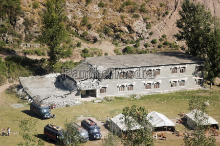 buildings demolished in earthquake devastated area