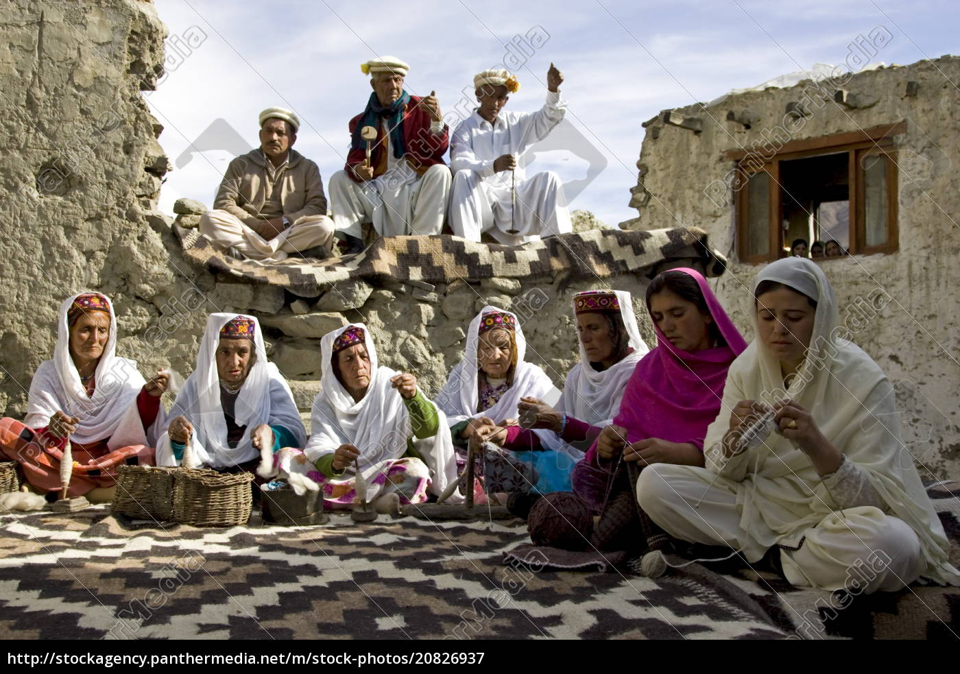 villagers, spin, wool, and, knit, together - 20826937