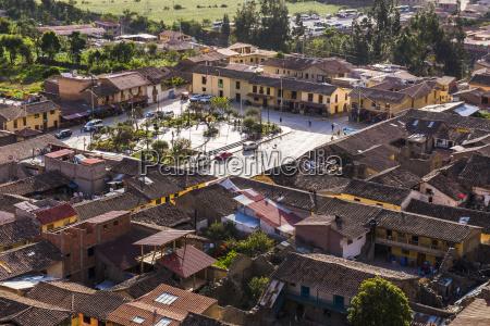 main inca square at ollantaytambo sacred
