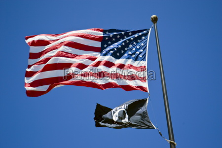 stars and stripes american flag flying