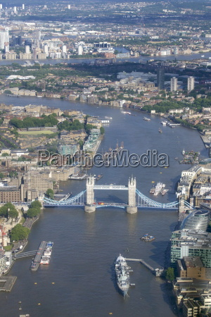 aerial view of tower bridge and