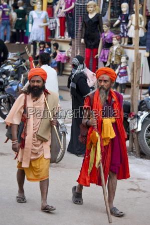 hindu sadhu pilgrims at festival of