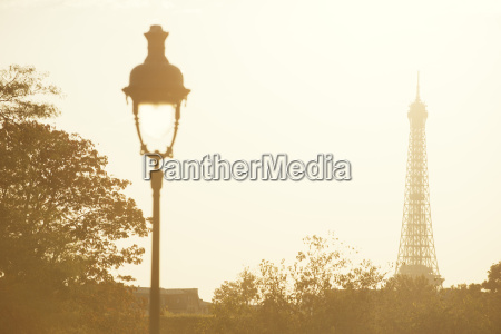 eiffel tower at sunset paris france