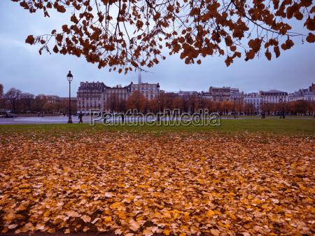 eiffel tower and autumn park scene