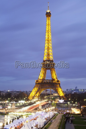 eiffel tower and christmas market paris
