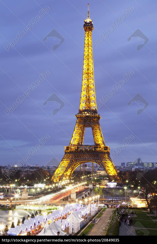 eiffelturm, und, weihnachtsmarkt, paris, ile, de, france, frankreich, europa - 20849035