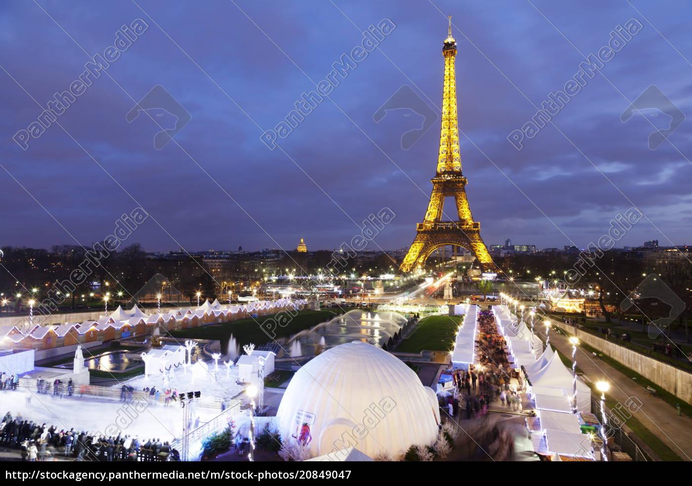 eiffelturm, und, weihnachtsmarkt, paris, ile, de, france, frankreich, europa - 20849047