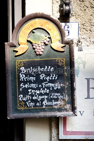 chalk board restaurant menu of la