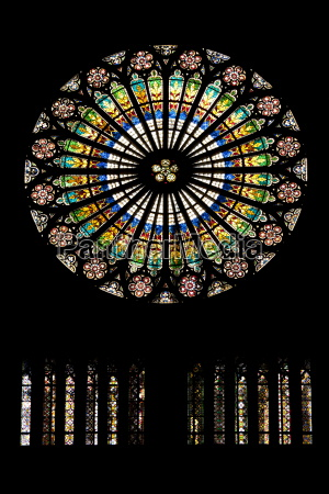 circular stained glass window in the