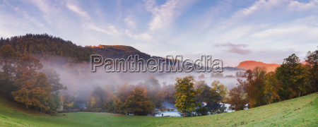 panorama overlooking horseshoe falls with mist