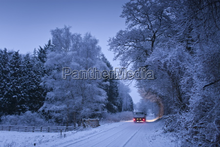 traditional snow scene with toyota pick