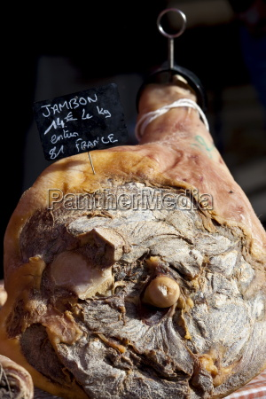 leg of cured ham jambon on