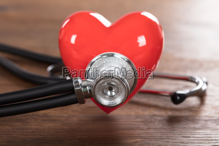 red heart with stethoscope