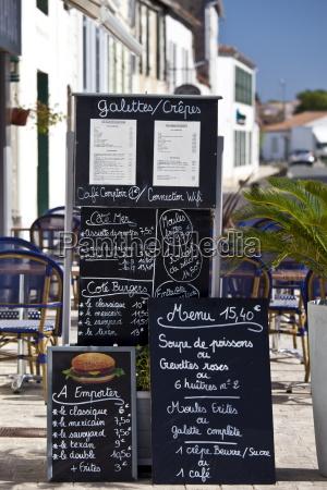 pavement cafe menu street scene in