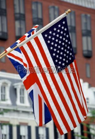 british union jack flag alongside american