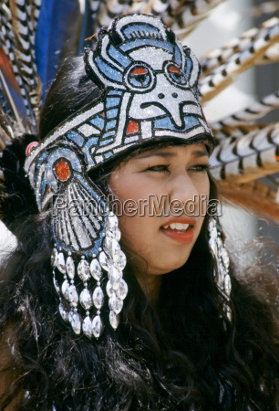 mexican aztec indian in traditional costume