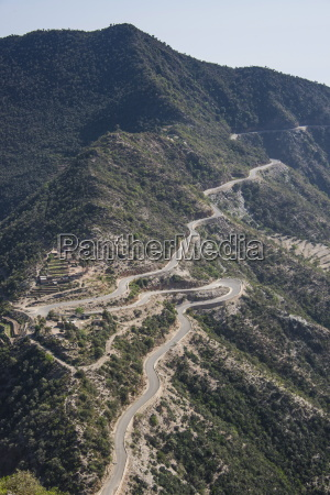 very curvy road leading from the