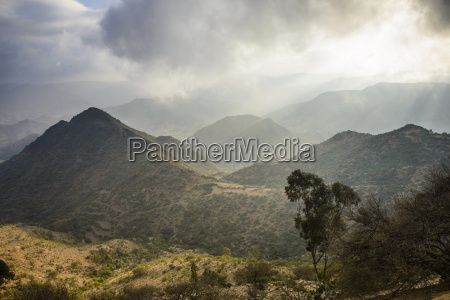 outlook over the mountains along the