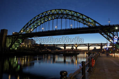 gateshead quays with tyne bridge and