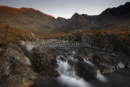 the black cuillin hills viewed from