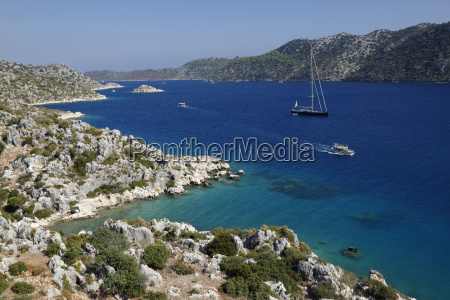 coastline looking to kekova ucagiz near