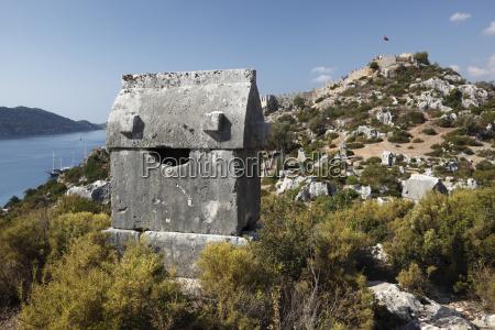 lycian sarcophagus and castle simena kalekoy