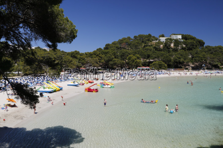 view over beach cala galdana menorca