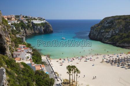 view over beach cala en porter