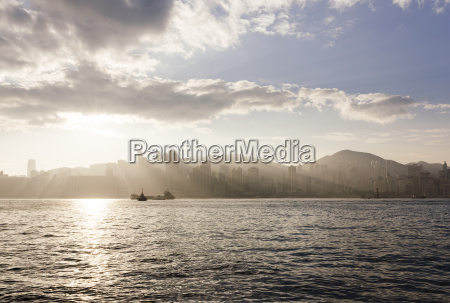dawn over hong kong central skyline