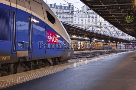 a tgv awaits departure at gare