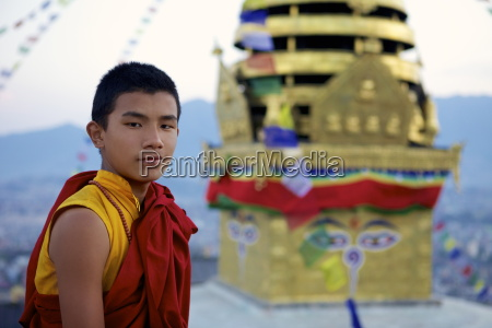 young buddhist monk at the buddhist