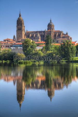 water reflection cathedral of salamanca salamanca