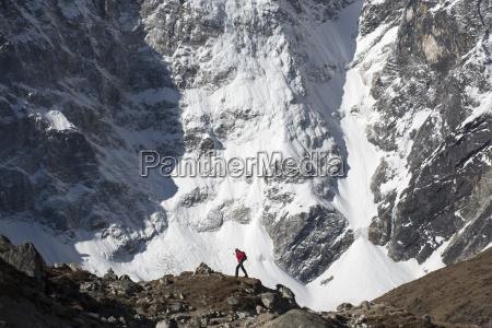 a trekker in the everest region