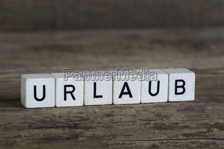 german word vacation written in cubes