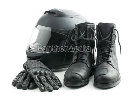 motorcykelhjelm handsker og stovler