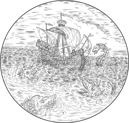 grosses schiff turbulente seeschlangen schwarz und