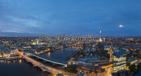 a night time panoramic view of