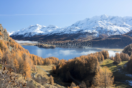 colorful woods around lake sils with
