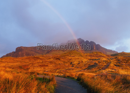 view of the storr at sunrise