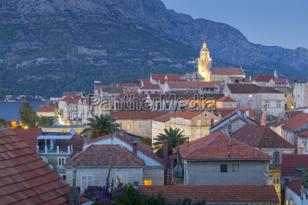view of korcula town at dusk