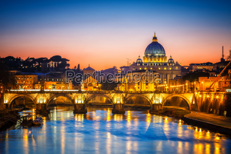 st peters cathedral at night rome