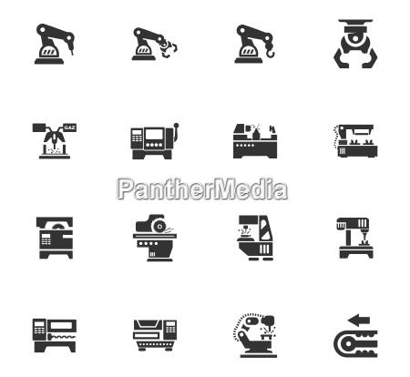 werkzeugmaschinen symbole gesetzt