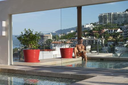 mexico puerto vallarta man relaxing with