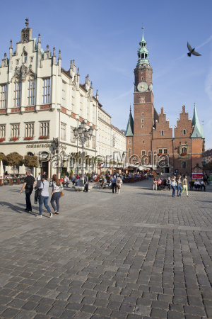 poland wroclaw old town square clock