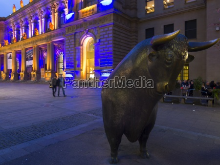 germany hesse frankfurt bull statue at